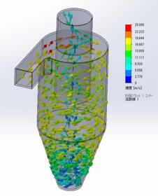 サイクロン分離機による粉体分離