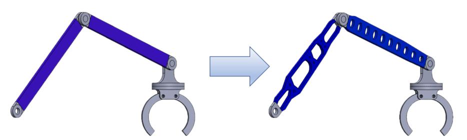 トポロジー最適化と形状最適化を駆使したロボットアームの強度アップ、最適化計算事例のページを掲載しました
